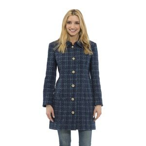 Plaid Tweed Button Front Coat sail to sable M NWT